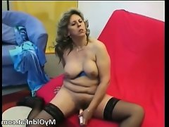 Sexy blonde milf gets to play with a sex