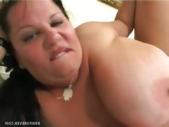 Bbw with huge tits goes after cock