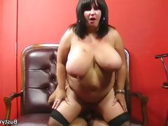 Bbw brunette sucks and rides a hard..