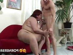 Obese mature pounded by a young stud