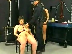 Master hits and spanks slave on her..