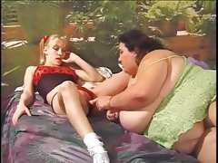 Fat has some fun with a small blond girl