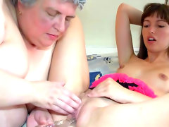 Old and young masturbation scene in..