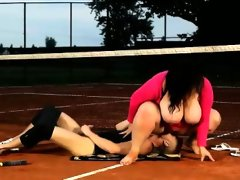 Bbw brunette facesits her tennis..